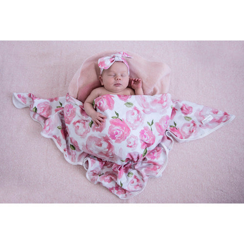 Sunset Rose Jersey wrap & Topknot - Jessie's Baby Boutique