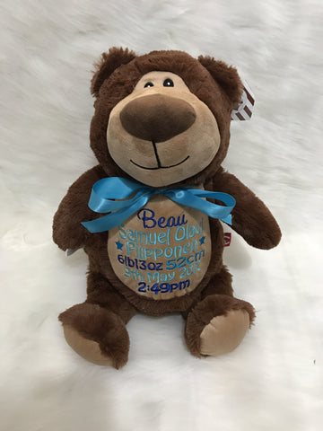 Personalised Brown bear - Jessie's Baby Boutique