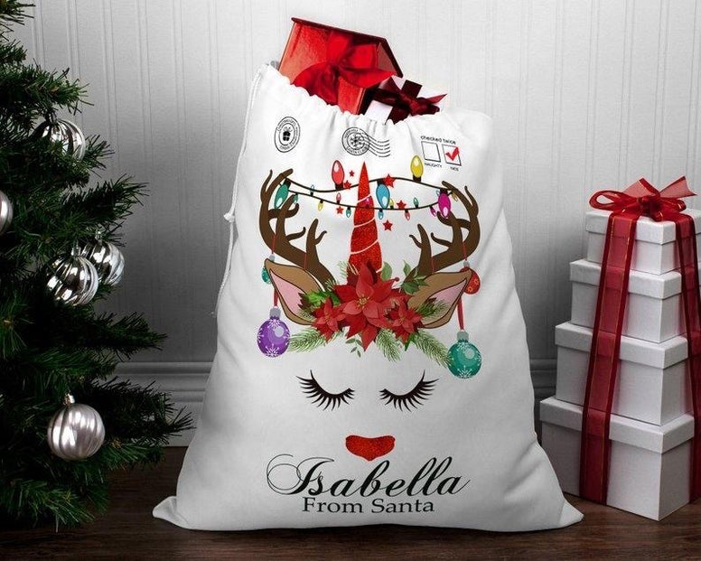 Personalised Christmas Santa Deer sack - Jessie's Baby Boutique