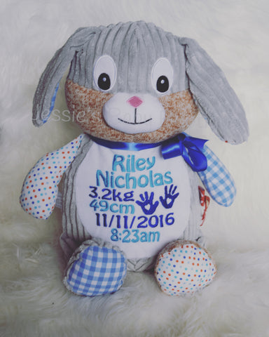 Personalised Blue Harlequin Bunny - Jessie's Baby Boutique