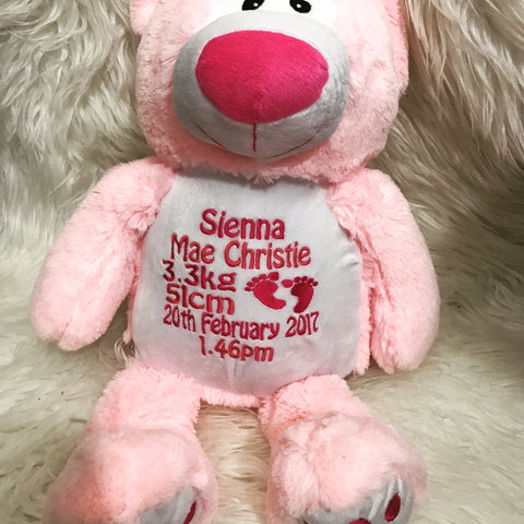 Personalised Blue and Pink Bear - Jessie's Baby Boutique