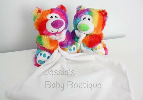 Personalised Rainbow Teddy Snuggle Blankies - Jessie's Baby Boutique
