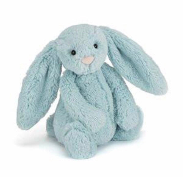 Personalised Bashful Bunny Aqua small - Jessie's Baby Boutique