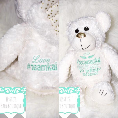 Personalised Angel Memorial Teddy Silver - Jessie's Baby Boutique