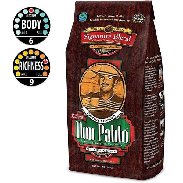 Cafe Don Pablo Signature Blend Whole Bean Coffee, Medium-Dark Roast, 2 Lb Bag