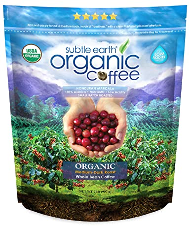 Subtle Earth Organic Medium-Dark Roast Whole Bean Coffee 2 Lbs