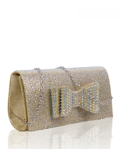 Diamante Clutch Bow Evening Handbag - Gold - Accessories 4 You