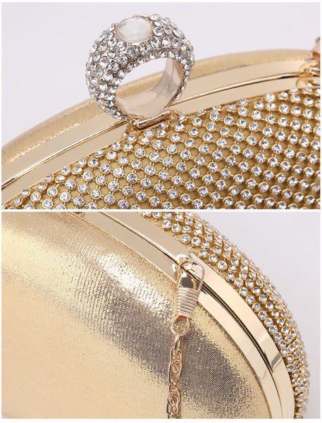 Ring Jewelled Clasp Evening Bag - Silver