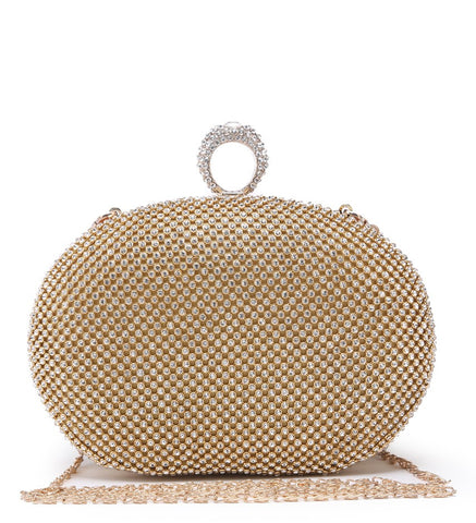 Ring Jewelled Clasp Evening Bag - Gold - Accessories 4 You