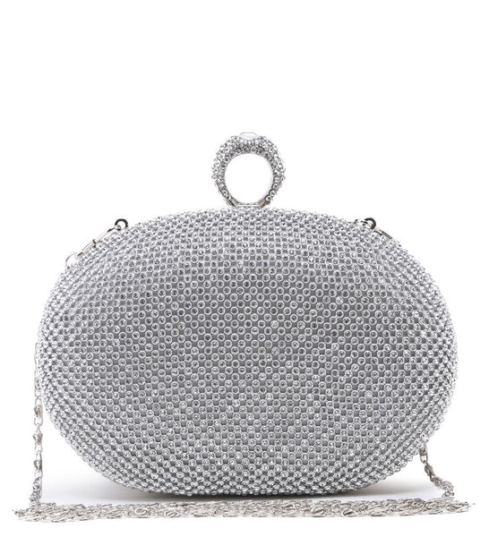 Ring Jewelled Clasp Evening Bag - Silver - Accessories 4 You