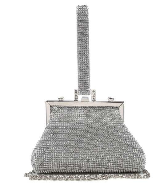 Looped Strap Evening Bag - Silver - Accessories 4 You