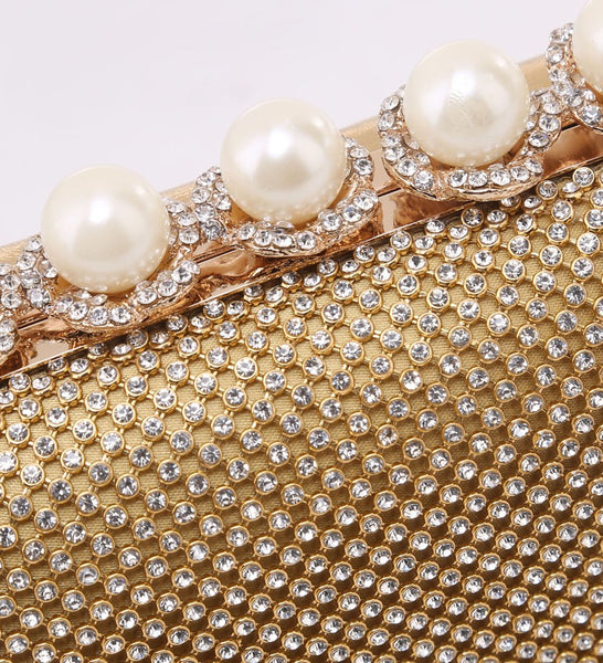 Pearl Clasp Jewelled Diamante Evening Bag - Gold