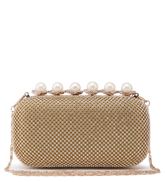 Pearl Clasp Jewelled Diamante Evening Bag - Gold - Accessories 4 You