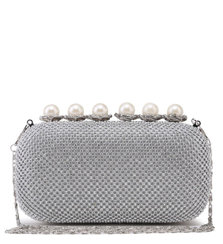 Pearl Clasp Jewelled Diamante Evening Bag - Silver - Accessories 4 You