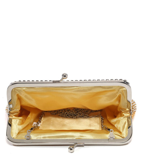 Jewelled Trimmed Clasp Evening Bag - Gold
