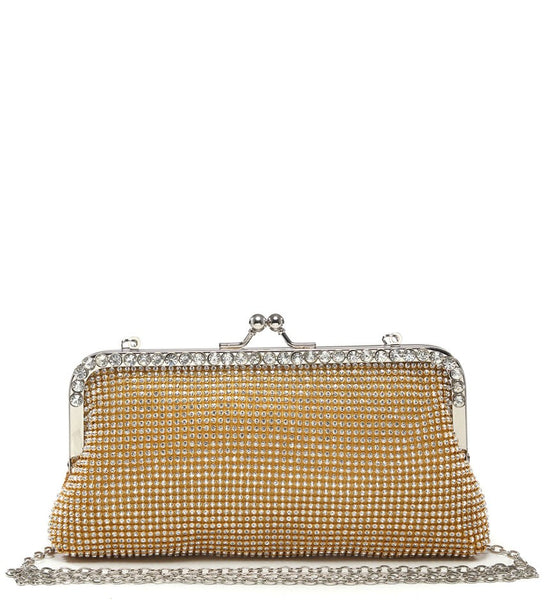 Jewelled Trimmed Clasp Evening Bag - Gold - Accessories 4 You