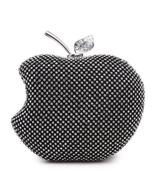 Apple Shaped Evening Bag - Black - Accessories 4 You