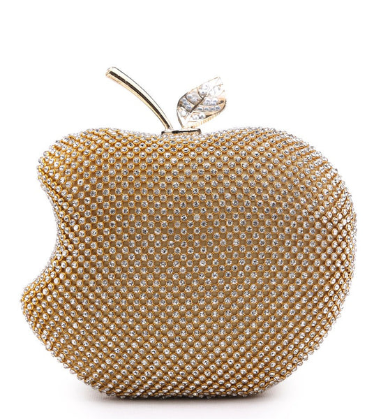 Apple Shaped Evening Bag - Gold - Accessories 4 You