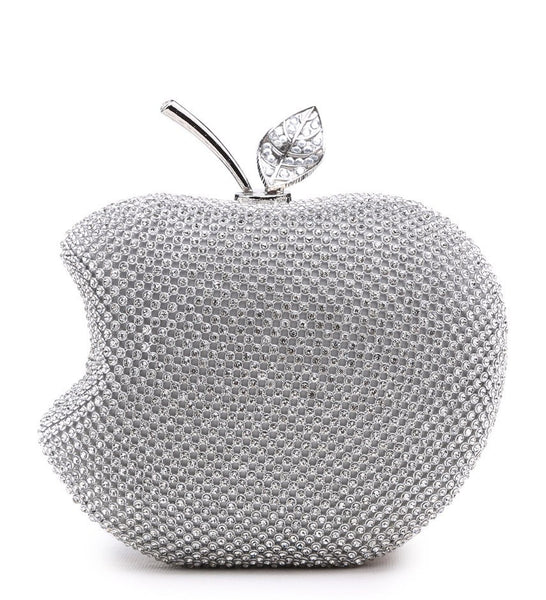Apple Shaped Evening Bag - Silver - Accessories 4 You