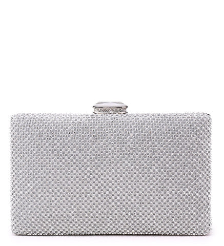 Rectangle Diamante Evening Bag with Diamond Look Clasp - Silver - Accessories 4 You