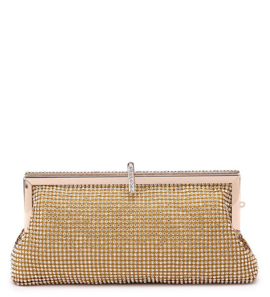Jewelled Diamante Clutch Evening Bag - Gold