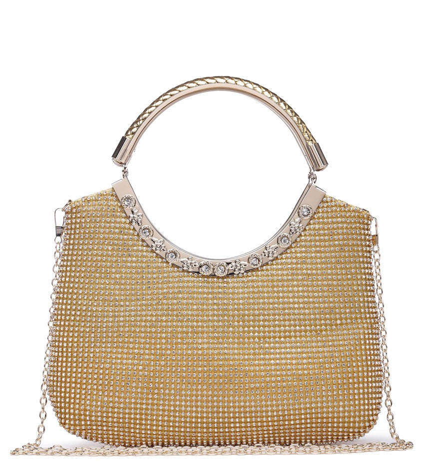 Twin Loop Handle Evening Bag - Gold - Accessories 4 You