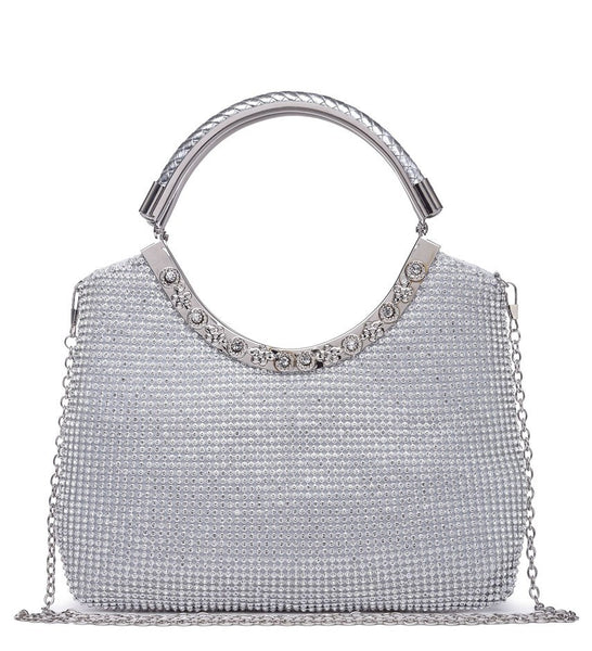 Twin Loop Handle Evening Bag - Silver - Accessories 4 You