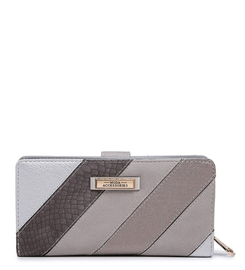 Striped Purse - Grey - Accessories 4 You