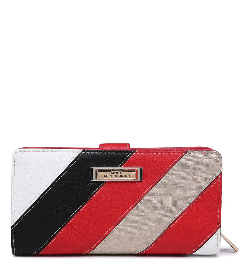 Striped Purse - Red - Accessories 4 You