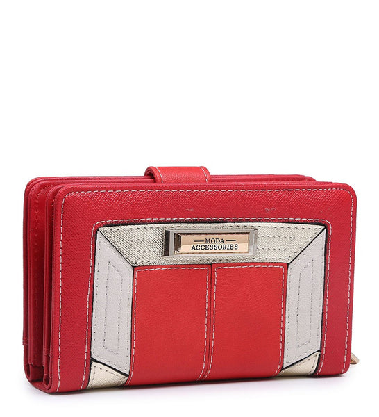 Coloured Border Purse - Red - Accessories 4 You
