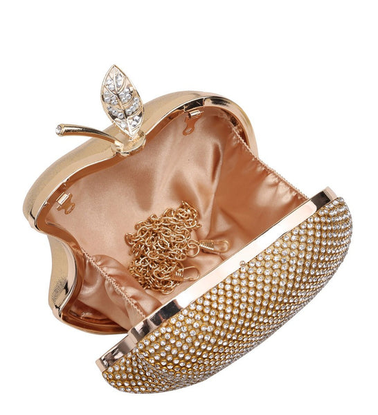 Apple Shaped Evening Bag - Silver