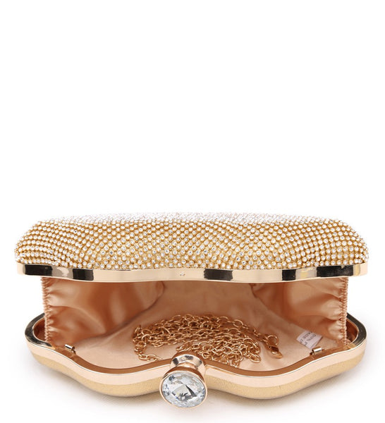 Lip Shaped Diamante Clutch Evening Bag - Silver