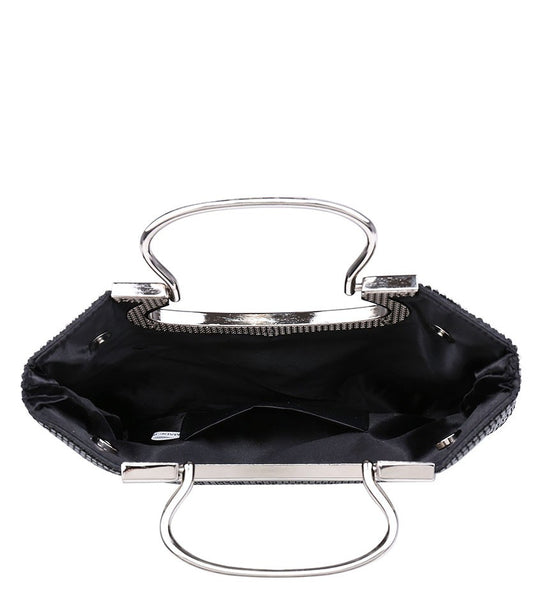 Jewelled Diamante Stud Fastening Twin Handle Evening Bag - Black