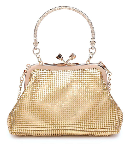 Diamante Clutch Jewelled Handle Evening Bag - Gold - Accessories 4 You