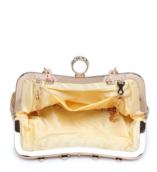 Ring Clasp Clutch Diamante Evening Bag - Gold