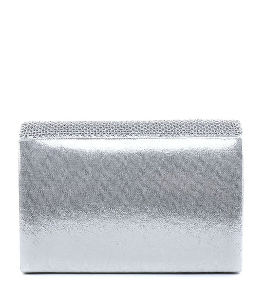 Diamante and Jewelled Clutch Evening Bag - Silver