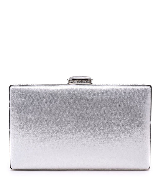 Rectangle Diamante Evening Bag with Diamond Look Clasp - Silver