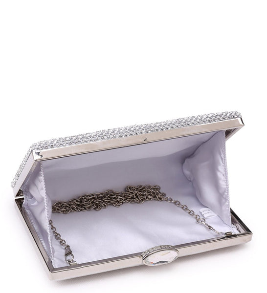 Rectangle Diamante Evening Bag with Diamond Look Clasp - Gold