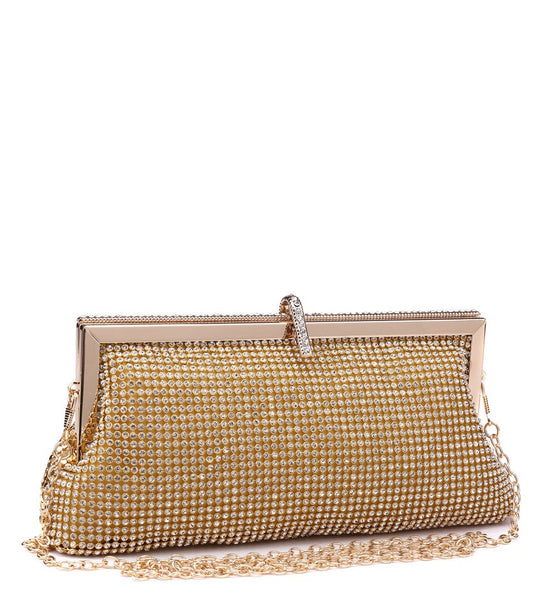 Jewelled Diamante Clutch Evening Bag - Gold - Accessories 4 You