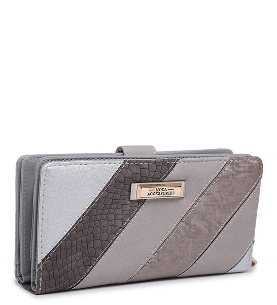 Striped Purse with Crocodile Detail - Apricot