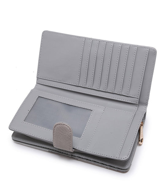Striped Purse with Crocodile Detail - Grey
