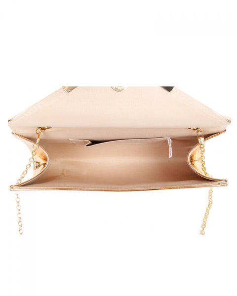Faux Patent Leather Clutch Evening Handbag - Rose Gold