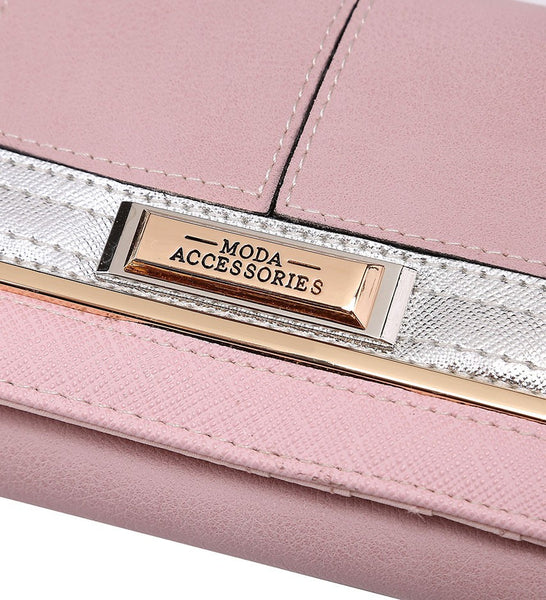 Gold Effect Detailing Purse - Pink