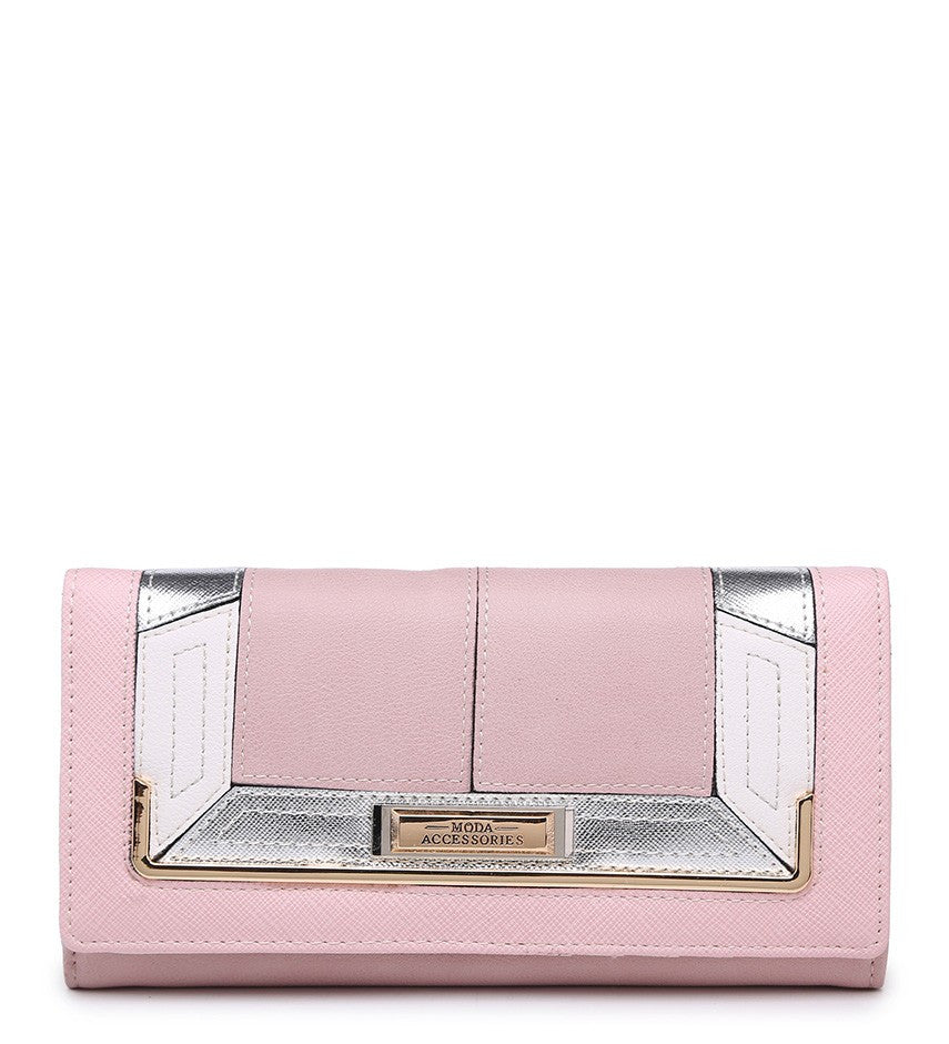 Gold Effect Detailing Purse - Pink - Accessories 4 You