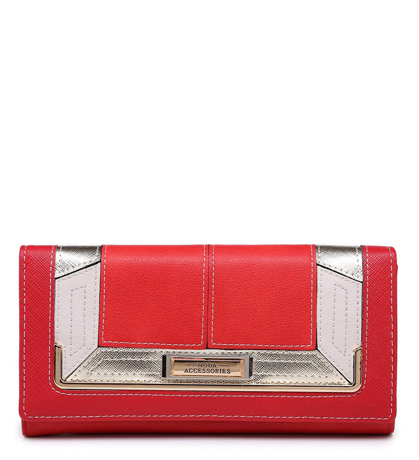 Gold Effect Detailing Purse - Red - Accessories 4 You