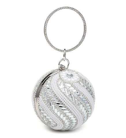 Ball Shaped Pearl Clutch Evening Bag - Silver - Accessories 4 You