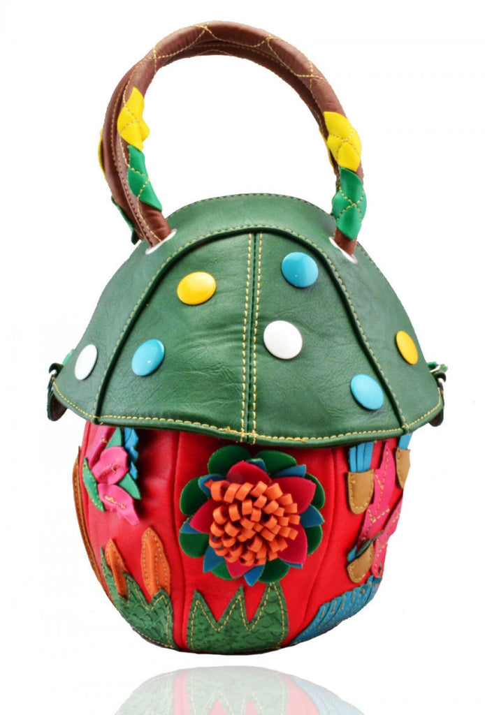 Faux Leather Novelty Mushroom Handbag - Red - Accessories 4 You