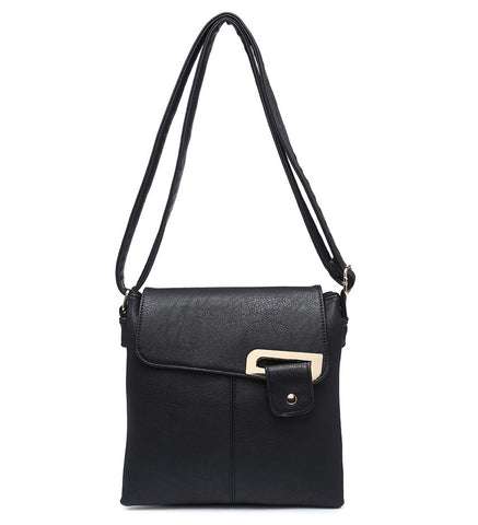 Flap Over Cross Body Bag - Black - Accessories 4 You