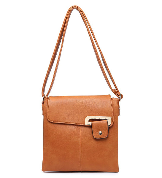 Flap Over Cross Body Bag - Brown - Accessories 4 You