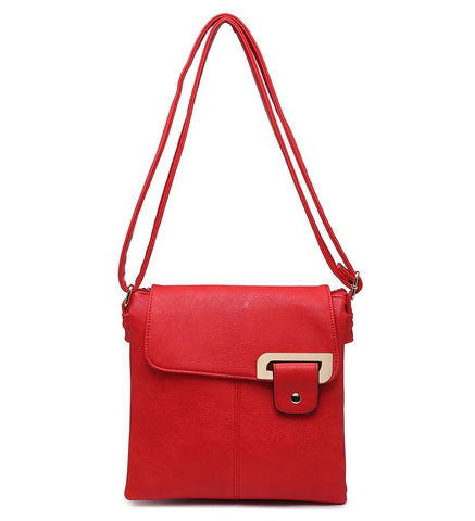 Flap Over Cross Body Bag - Red - Accessories 4 You
